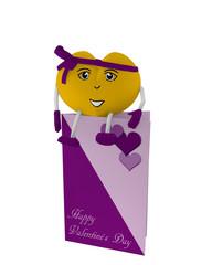 niedliches Valentinsherz mit Gesicht und schleife sitzt auf einer Valentinskarte. 3d render