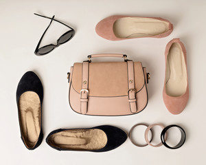 Women's accessories - gently pink, flesh-colored - shoes, bag and sunglasses.