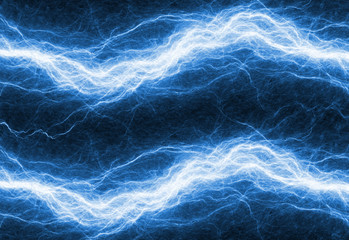 Blue electrical lightning bolt, plasma and power background