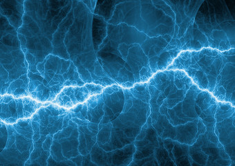 Blue electrical lightning bolt, plasma and power background