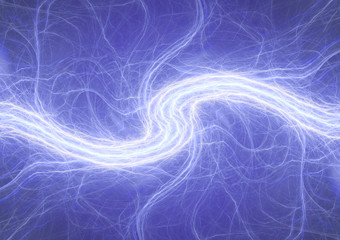 Blue lightning abstract, electrical and plasma background