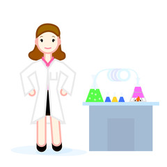The doctor's character is next to the table with medicines and scientific examinations. Suitable for registration of a health magazine or a website.
