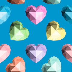 Origami heart. Seamless vector pattern