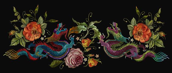 Embroidery two chinese dragons, roses and peonies flowers. Classical embroidery asian dragons and beautiful red roses vector. Art dragons t-shirt design. Clothes, textile design template