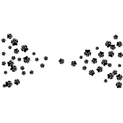 Monochrome Bear Footprints in Black and White. Prints of Paws with Big Claws for Petshop Design or for Goods for Pets. Simple Pattern for Print, Logo or Poster. Vector Confetti Background.
