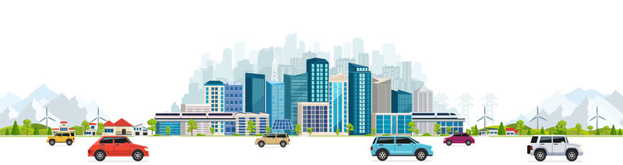 Urban landscape with large modern buildings, skyscrapers and suburb with private houses on a background mountains and hills. Street, highway with cars on white background.