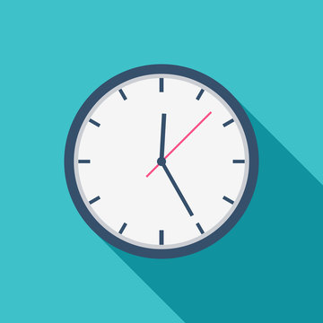 White Clock icon flat design for apps and website, trendy office clock with shadow on a blue background. Vector illustration, eps10