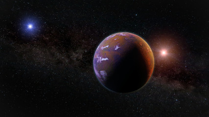 beautiful exoplanet, part of an alien binary star system with a red and blue star