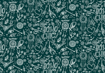Seamless pattern with boho elements.