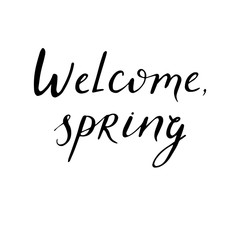 Hand sketched lettering - welcome spring