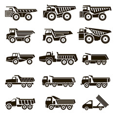 15 icons of dump trucks