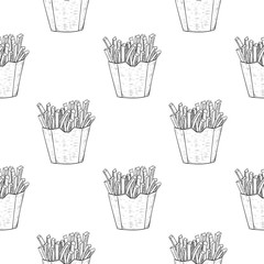 French fries as seamless pattern. Black and white hand drawn sketch
