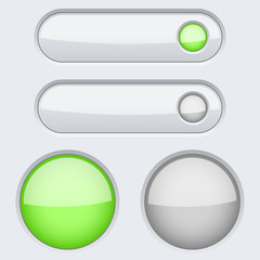 White green round and oval buttons. Normal and Active