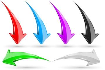 Set of 3d arrows. Shiny icons