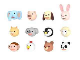 動物イラスト セット 左向き ,  3Dイラスト