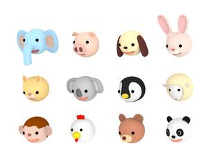 動物イラスト セット おじぎ ,  3Dイラスト