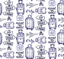 Hand drawn doodle travel set. Travel pattern
