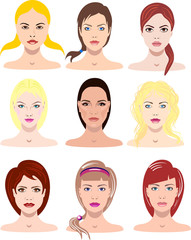 vector illustrations of beautiful young girls with various faces and hair style