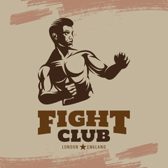 Boxing Club Fights. Boxing Emblem, Label, Badge, T-Shirt Design.
