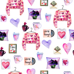 Valentine's day. Watercolor seamless pattern with different elements.