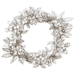 Branches of apple blossom. Floral wreath. Graphic round border.