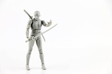 Ninja figure Action on White background