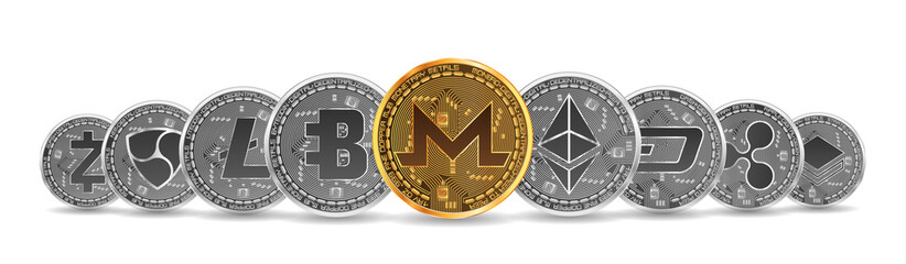 Set of gold and silver crypto currencies with golden monero coin in front of other crypto currencies as leader isolated on white background. Vector illustration. Use for logos, print products