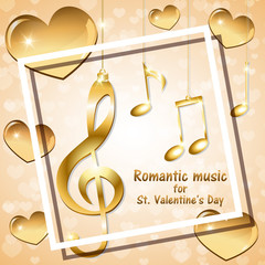 Musical background with golden notes for Valentine's day