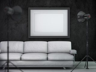 Mockup poster, empty dark interior design. 3D