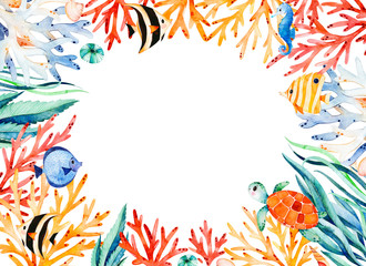 Oceanic watercolor frame border with cute turtle,seaweed,coral reef,fishes,seahorse etc.Underwater creature.Perfect for invitations,party decorations,printable,craft project,greeting cards,wedding.