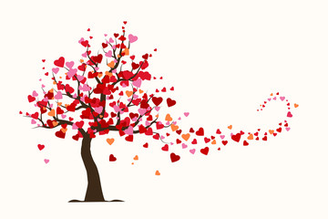 Valentine's day card, love tree with heart leaves flat Illustration vector.