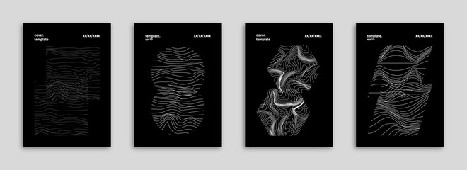 Abstract Background Cover / Flyer / Poster / Album Template Bundle - Black & White Geometrical Shapes Minimal Lines