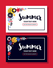 Invitation card template with abstract and floral elements