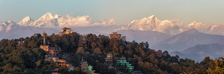 Foto op Plexiglas Nepal Nagarkot, Nepal, View on the Himalayan Mountain Range