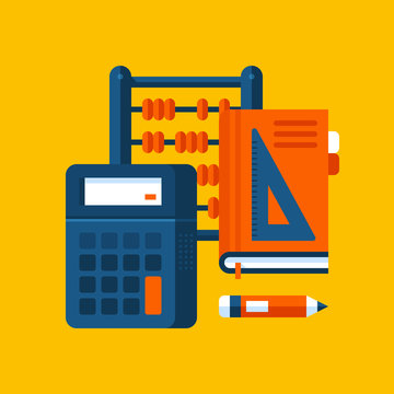 Colorful illustration about mathematics in modern flat style. College subject icon on yellow background. Calculator, book and wooden abacus.