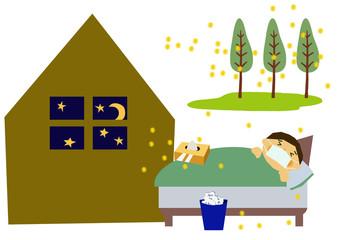 アレルギーと睡眠不足のクリップアート。