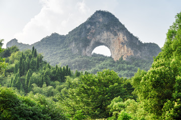 Amazing view of Moon Hill and green woods at Yangshuo