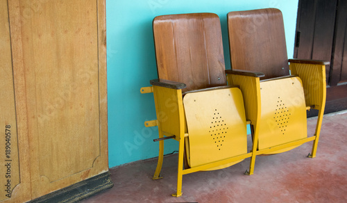 Brilliant Close Up Of Old Wooden Folding Cinema Chair Or Folding Seat Caraccident5 Cool Chair Designs And Ideas Caraccident5Info