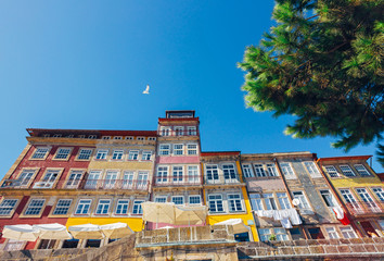 Colorful houses at Riberia District of Porto, Portugal