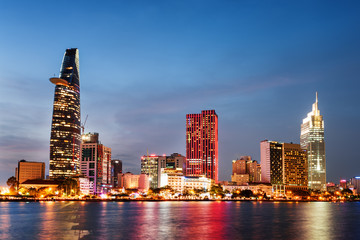 Colorful downtown of Ho Chi Minh City at sunset, Vietnam