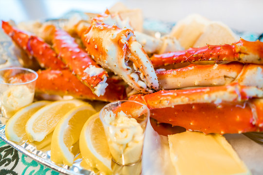Red king crab legs with fresh lemon slices