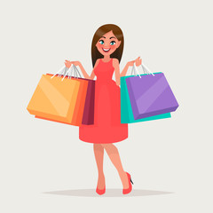 A woman is shopping. The girl with the packages. Fashionable. Vector illustration in cartoon style