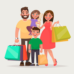 Happy family is shopping. Father, mother and children with packages and purchases. Vector illustration