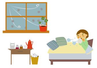 風邪、インフルエンザで療養中のイラスト。