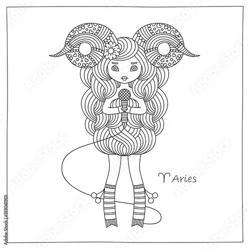 Zodiac Sign Aries Vector Hand Drawing Illustration Coloring Book Page For Adults Kids