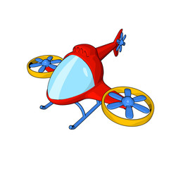 helicopter engines vertical take-off modern toy cartoon style different kinds of white isolate background