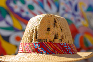 Vintage Hat on Colorful Background. Travel and Fashion concept