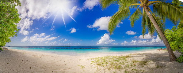 super wide panorama with tropical paradise dream beach