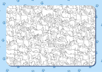 Coloring book with cute cartoon dogs. Different breeds. Background with paws. Horizontal album orientation.
