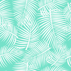Seamless tropical pattern. Palm leaves, jungle.